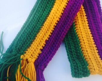 Handmade Crochet Green Gold Purple Mardi Gras Handmade Scarf