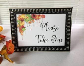Guest Book Sign with Frame, Please Take One,Fall Wedding, Wedding Guest Book Sign, Event Guest Book Sign, Shower Guest Book Sign