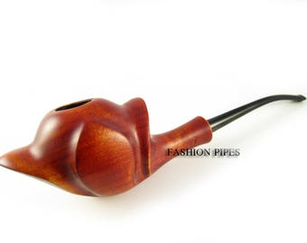 """Long 8.1"""" Wood smoking pipe """"BLOSSOM"""" Tobacco Pipes. Carved Lady Exclusive Wooden Pipe - The Best Price Offer in FPS"""