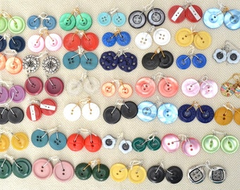 Vintage Button Earring Supplies, Lot of 47 Colorful Pairs