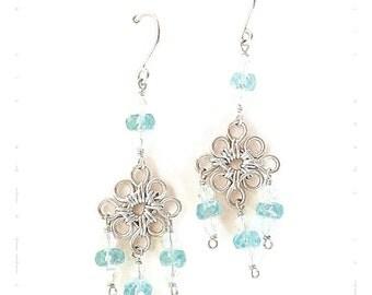 Handmade Genuine Apatite Chandelier Earrings