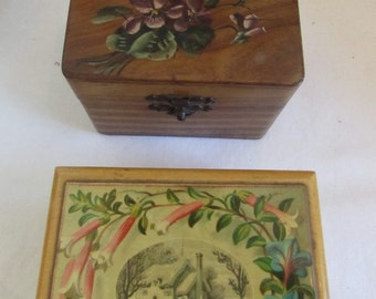 2 antique/vintage French small wooden boxes.