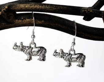 Rhinoceros Earrings - Rhino Dangle Earrings
