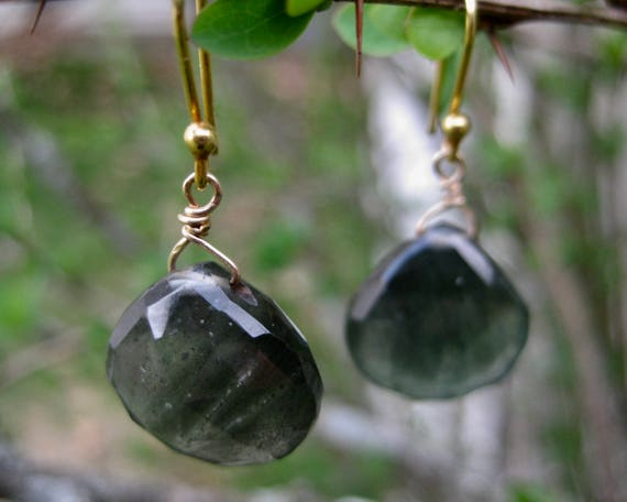 MAUDE  Moss Aquamarine Briollete Drop Earrings