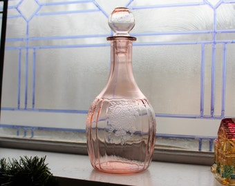 Mayfair Open Rose Decanter Pink Depression Glass Vintage 1930s