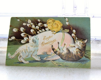 Antique Postcard Easter Kittens