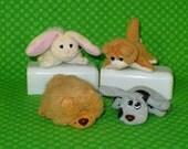 Pound Puppies Vintage Galoob- Mini Plush Dogs Cat Bunny-Pound Purries-Pound Bunnies-Vintage 1990's Galoob Pound Puppies-Vintage Mini Plush