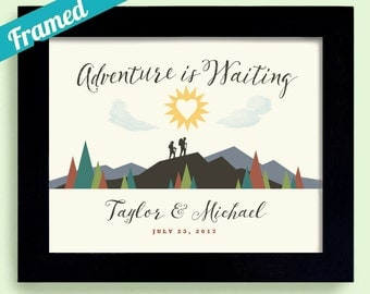 Adventure Awaits Hiking Gift For Newlyweds Wedding Gift Outdoor Lovers Unique Couples Gift Framed Art Print Canoe Camping Always Hiking