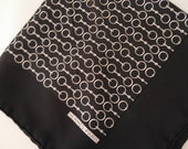 vintage silk HERMES pocket square, genuine hermes accessories,black and white, hermes haute couture, high fashion