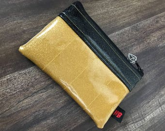Gold & Black Sparkle Vinyl Change Purse