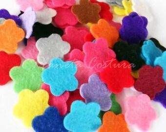 Felt Flower 2cm, set of 50 pieces, Die Cut Shapes, Applique, Confetti, Party Supply, DIY Wedding