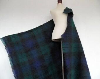 SCOTLAND . Mohair Hug . Huge Fluffy Fuzzy Shawl Wrap Scarf Throw Plaid Tartan 90s
