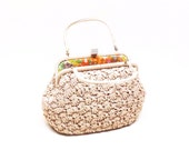 Vintage Straw Raffia Handbag Purse 60s 70s Top Handle Retro Boho Made in Japan for Ritter Its in the Bag