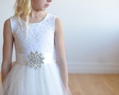 Diamante Ivory lace flower girl dress, lace first communion dress in white or ivory with custom sash