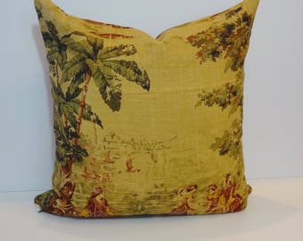 Decorative Pillow Cover, Rust, Gold, Victorian, Palm Trees,  20 x 20