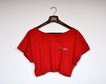 Vintage Boxy Oversized Red Cropped Trainer Sweatshirt Crop Top
