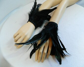 black feather cuffs bracelets hand jewellery Gothic Steampunk Fantasy crow costume tribal fusion dancing showgirl cabaret