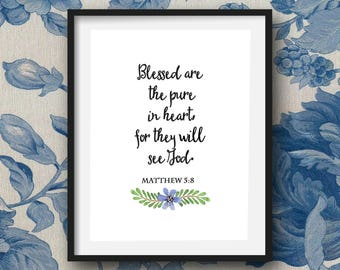 The Beatitudes Printable Wall Art, Bible Verse, Matthew Chapter 5, Watercolor floral graphics, Set of 10 Prints.
