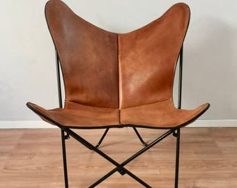 BKF Butterfly Chair - Premium Buffalo Leather and Metal Frame