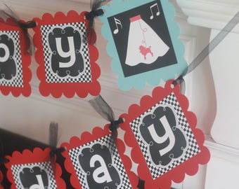 Happy Birthday Blue Black & Red 50's Jukebox Poodle Skirt Sock Hop Rock n Roll 1950's Theme Banner - Party Pack Specials
