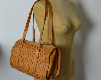 Vintage Boho Medium Woven Leather Satchel Bag - Tan