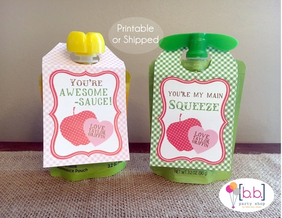 Applesauce Pouch Valentine's Day Tag Label- Printable or Shipped