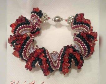 Red Dragon zig zag V cellini spiral bracelet red black pink