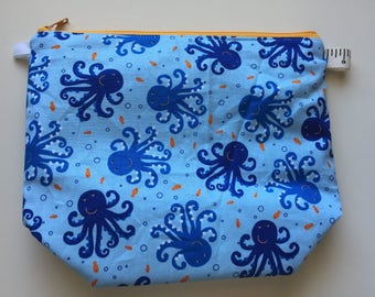 Octopus Wedge Zippered Pouch Project Bag In Stock, Ready to Ship
