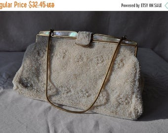 WELCOME SPRING SALE Mother of Pearl White Beaded Formal Bag/Vintage 1950 1960/Bridal Micro Beaded Clutch With Gold Tone Chain