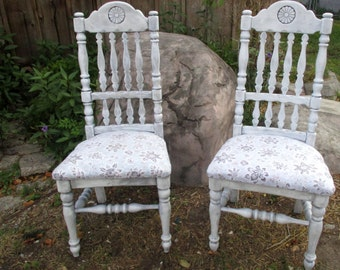 Pair of dining chairs shabby chic distressed hand painted beach decor island style original one of a kind