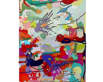 Large Original Abstract Art pretty vancouver artist melissa thorpe canadian office bright colourful colorful red purple grey painting