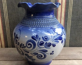 Blue Ceramic Ruffled Vase/Vintage Cres D Alsace France Pottery/Dany Tonin Signed French Pottery/blue floral pottery/Rustic French Country