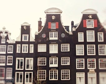 Amsterdam Photography, Canal Houses, Europe, Travel Print, Large Wall Art, Minimal Decor, Architecture, Dutch Home Decor, Windows, Holland