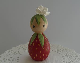 Hand Painted Wooden Peg Doll - Strawberry