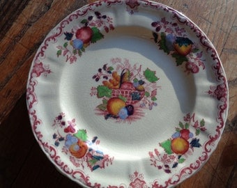 4 Antique Ironstone Ceramic Dessert or Salad Plates in Mint Condition with great crackled patina displaying a Fruit Basket Design
