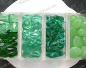 Sale Beads, Closeout Beads, Destash Beads, 76 Green Opal Teal Emerald Green Glass Beads, Faceted Glass Beads, Destash Supplies DS-741-9