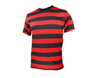 Men's SHORT Sleeve Black & Red Striped Shirt