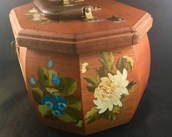 Vintage Hand Painted Floral Artist Signed Wood Handbag Purse