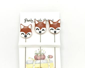 Decorative Fox Pins, Embellished Scrapbook Pins, Novelty Pins, Foxes, Quilting Pins, Sewing Pins, Hat Pins, Fairy Garden  Set of 3