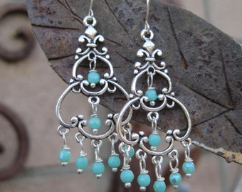 Bohemian Chandelier Earrings - Turquoise Blue Beaded Chandelier Boho Earrings - Delicate Chandelier Earrings