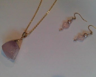 Pale Pink Quartz Pendant Necklace, Gold Chain and Matching Pink Quartz Heart Earrings Set, Wedding Day , Pale Pink Jewelry Set SALE