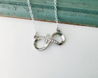 Infinity Cross Necklace, silver infinity, faith, minimalist, ready to ship