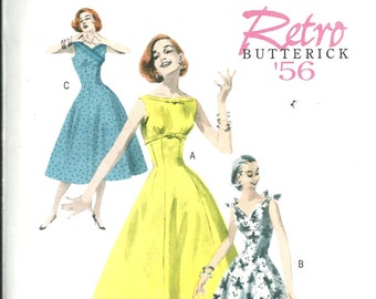 "Butterick Retro 1956 dress pattern size 6, 8, 10, 12. Bust 30.5"" to 34"""