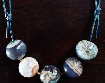 Agate Planetary Necklace - galaxy jewelry