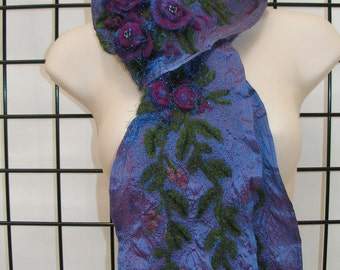 Blue Silk Scarf with Purple Needle Felted Flowers
