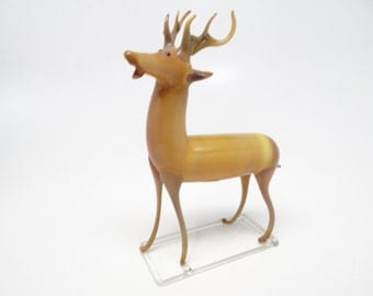 1930's German Glass Reindeer, Antique Hand Blown Deer for Christmas