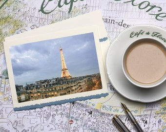 Paris Photography Notecard - Eiffel Tower at Twilight, Stationery, Blank Card, Greeting Card, Print on Ivory Card with Blue Deckle Edge