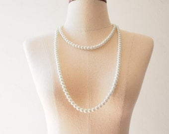 Long White Pearl Necklace Prom Party Jewelry Wedding Necklace