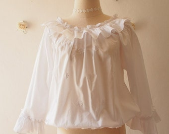 White Vintage Heirloom Style Blouse Ruffle Top Beach Sweet Lady Summer Blouse -Free size fit US2-US6
