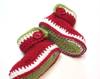 Ready to ship 6-12 months crochet baby booties.  Christmas baby boots.  Santa boots.  Crochet ankle boots, christmas booties.